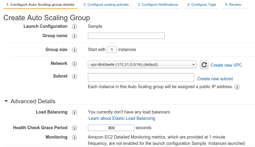 Create Auto Scaling Group AWS