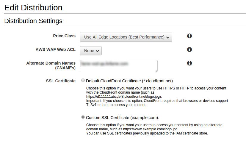 AWS CloudFront Management Console