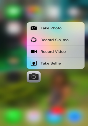 Camera Home Screen Quick Action