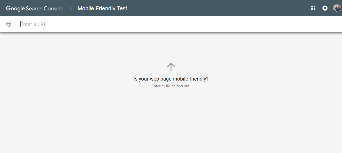 Search Console Mobile Friendly Test