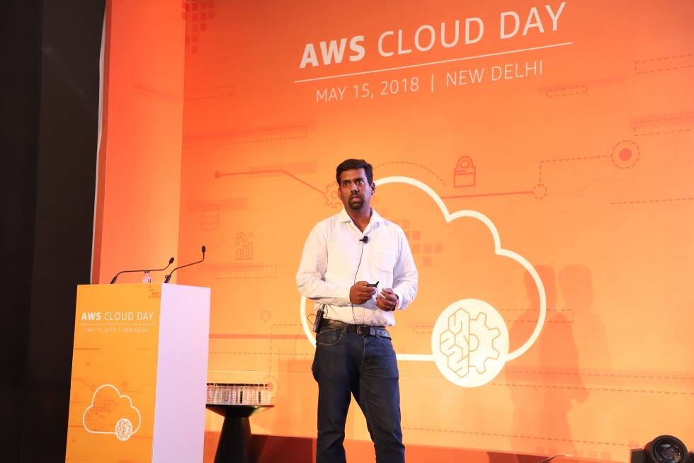 Aman Agarwal Presenting at the AWS Cloud Day in Delhi